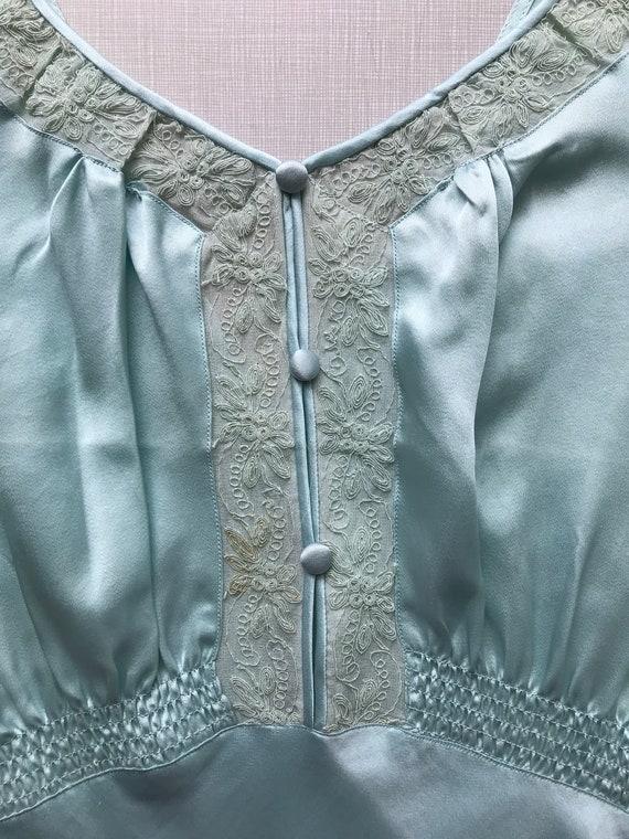 1930's blue silk and rayon two piece pajama/loung… - image 9