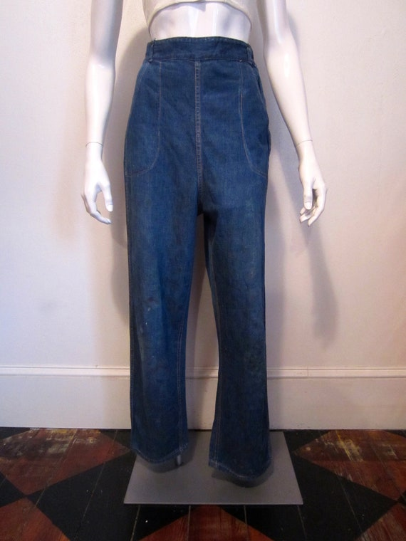 1940's side zipper jeans/beautifully worn in