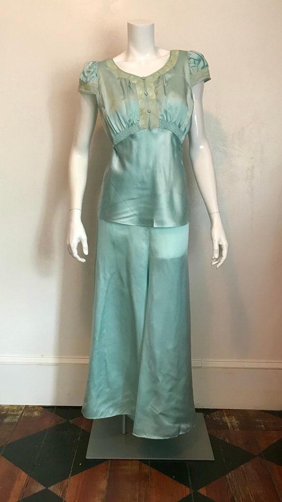 1930's blue silk and rayon two piece pajama/loung… - image 1