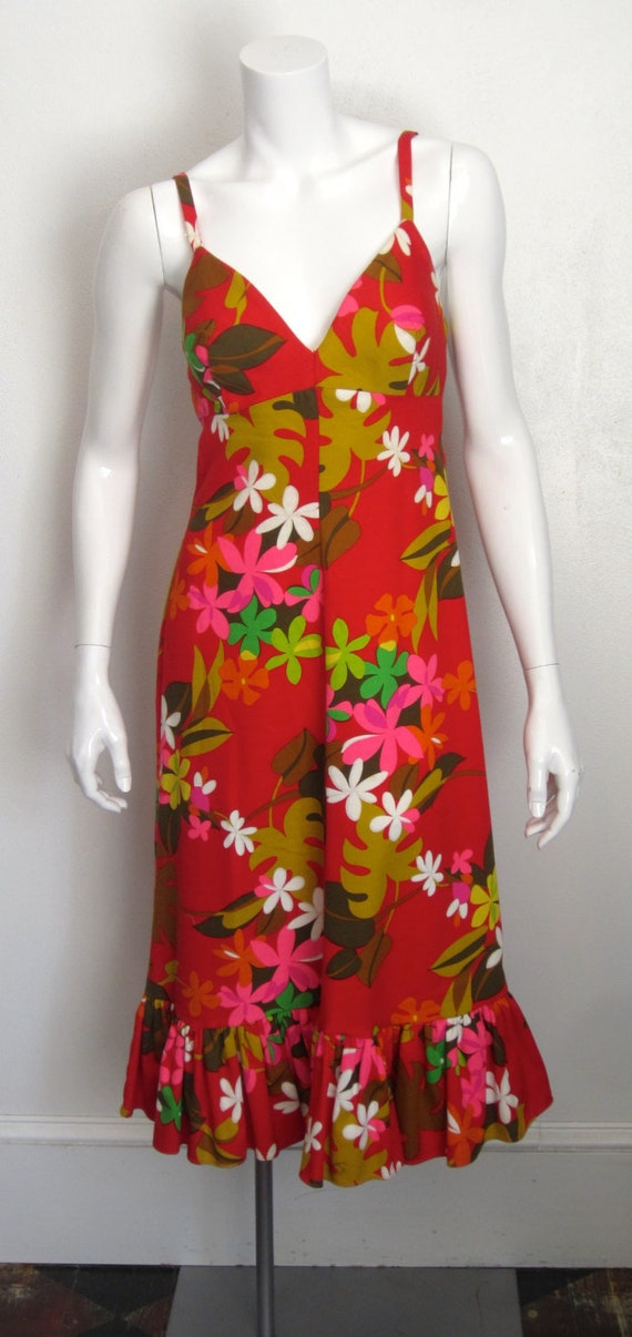 "1960's Sears ""Hawaiian Fashions"" red cotton floral"