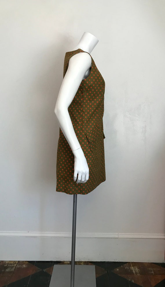1960's Hunter Sportswear green dress with orange … - image 2