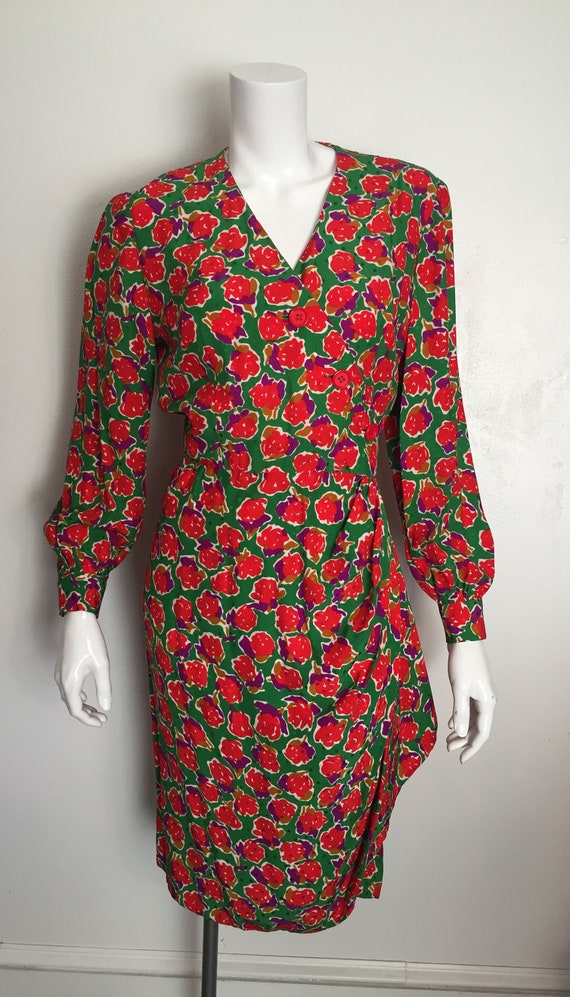 43166f7a7a5 1980 s silk floral and polka dot wrap dress by Bill