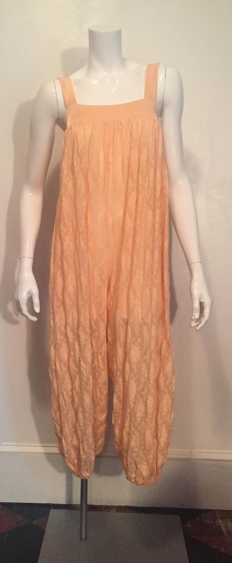 b9f4b6672469 1980 s peach lace pajama romper set by Ste Jan Marie