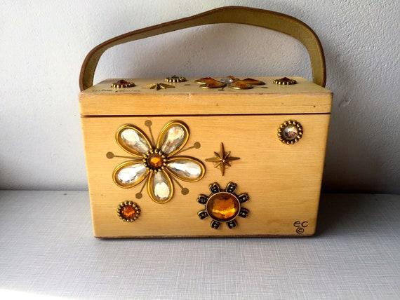 1960's 'Mille fleurs' wood box bag by Enid Collins