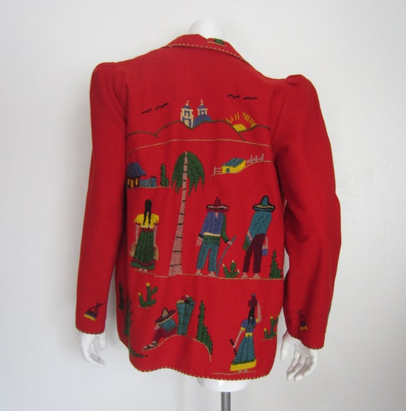 1940's red wool embroidered Mexican tourist jacket
