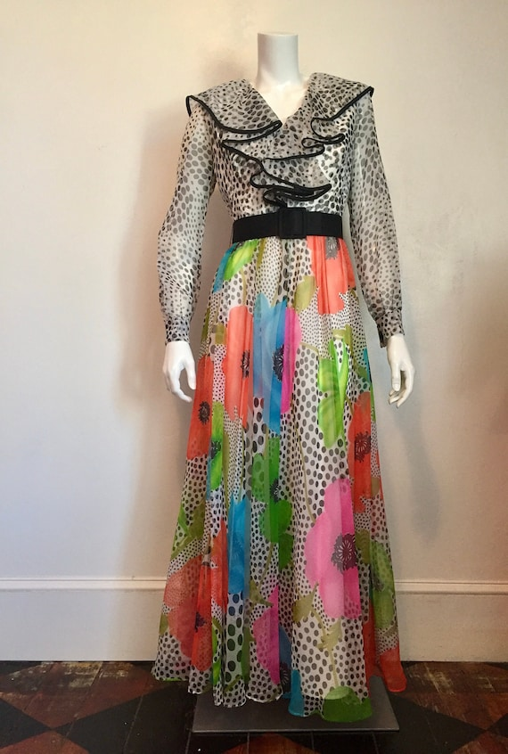 1970's Jack Bryan polka dots and poppies gown
