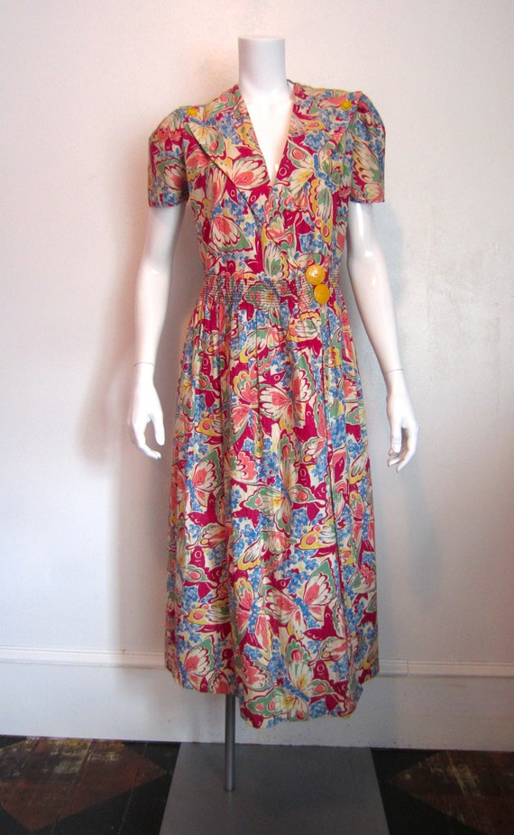 1930's butterfly and flowers print wrap dress by S