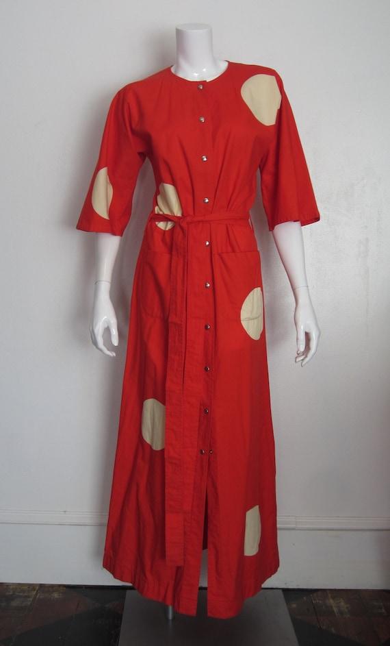 1970's red and white polka dot robe by Vuokko, Fin