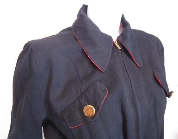1940's Davis black wool gabardine sports wear jack