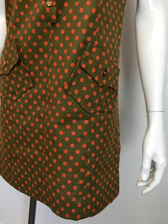 1960's Hunter Sportswear green dress with orange … - image 5
