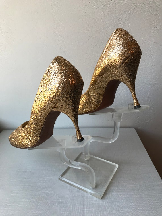 1950's Frederick's of Hollywood gold glitter encru