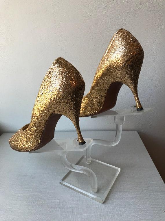 1950's Frederick's of Hollywood gold glitter encru