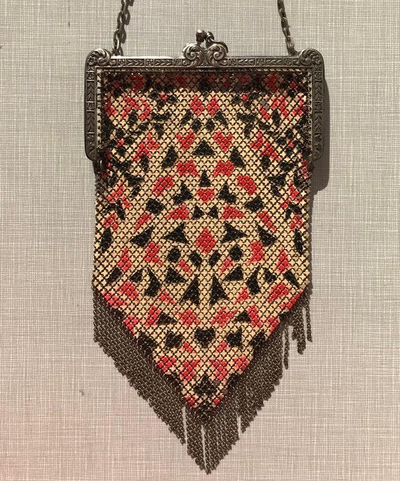 1920's Mandalian enameled metal mesh purse - image 2