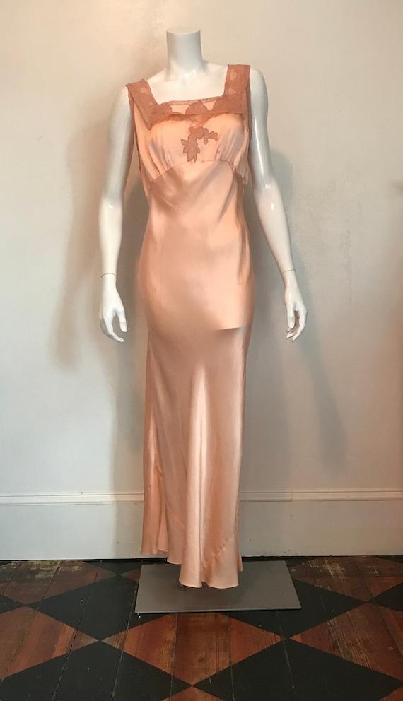 1930's bias cut peach silk satin and lace night go