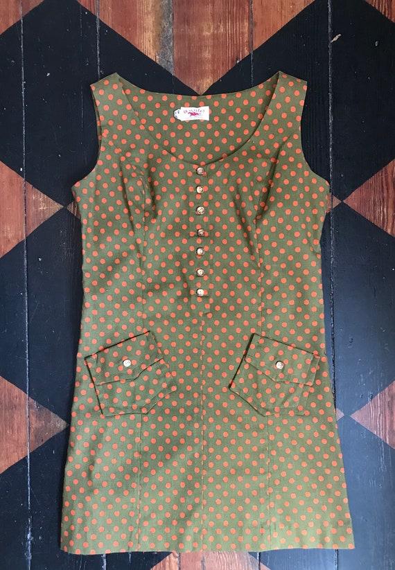 1960's Hunter Sportswear green dress with orange … - image 8
