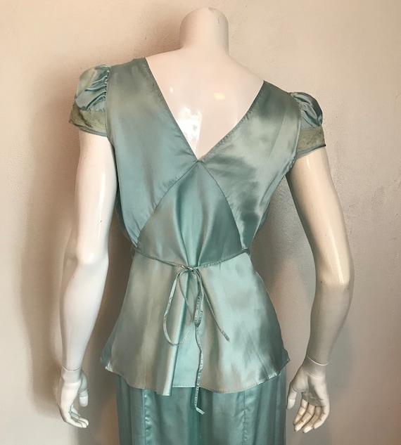 1930's blue silk and rayon two piece pajama/loung… - image 6