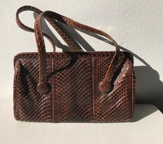 1940's American Modes brown snake skin handbag