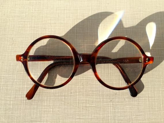 1960's  round plastic tortoise eyeglasses by Imper