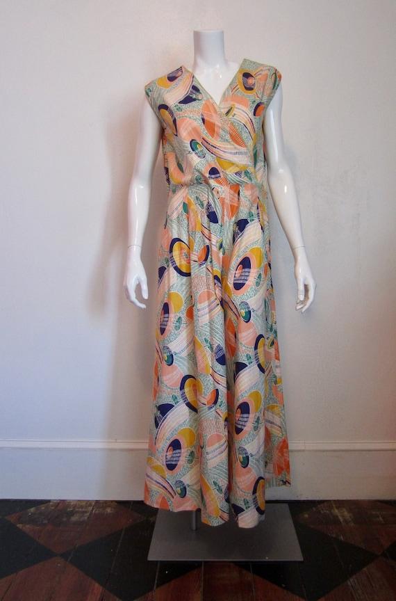 1930's cotton graphic print beach pajamas//homemad