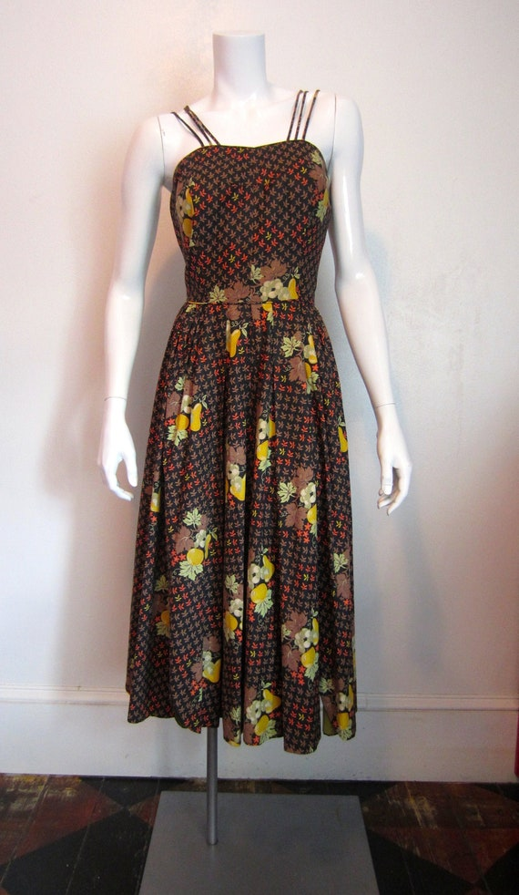 1950's Marjae Miami fruit and leaves print cotton