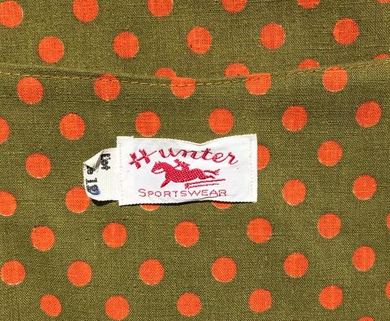 1960's Hunter Sportswear green dress with orange … - image 6