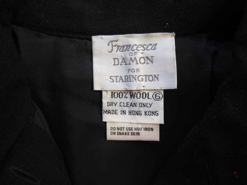 1980/'s black wool blouse with red snake skin accents by /'Francesca of Damon for Starington/'size 6