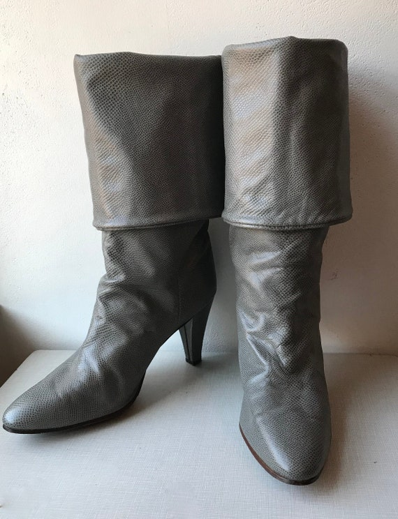 1970's Golo gray leather convertible boots/size 8
