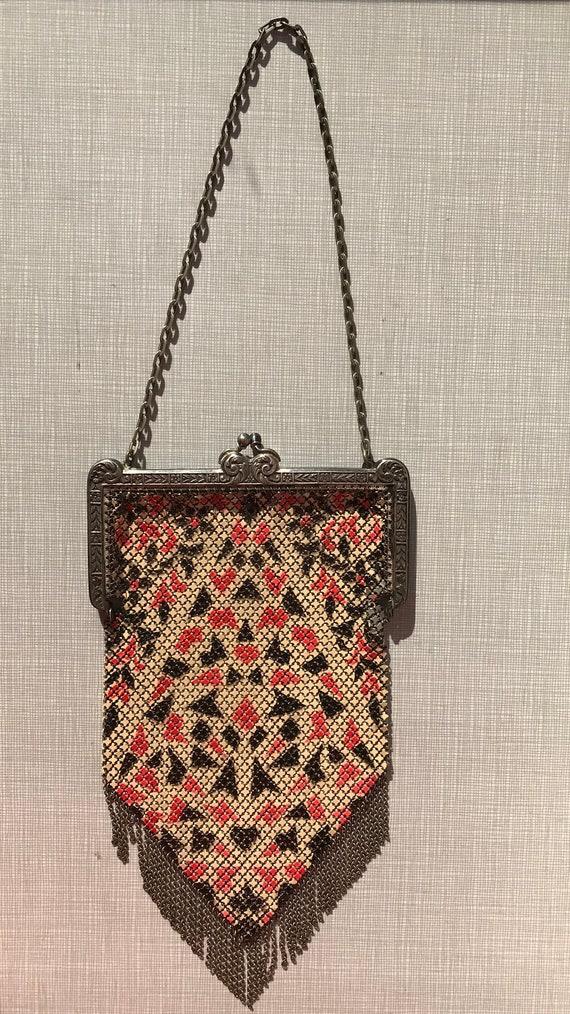 1920's Mandalian enameled metal mesh purse - image 3