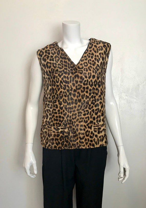 1950's 'A Winter product' leopard fake fur top/med