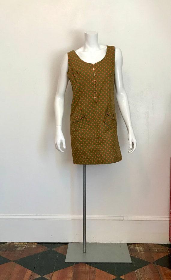 1960's Hunter Sportswear green dress with orange p