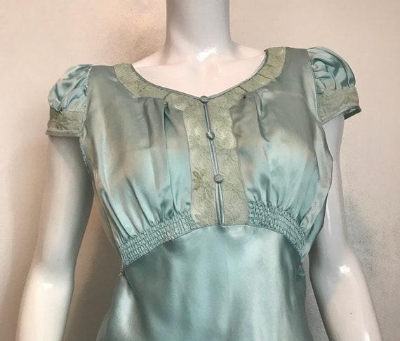 1930's blue silk and rayon two piece pajama/loung… - image 4