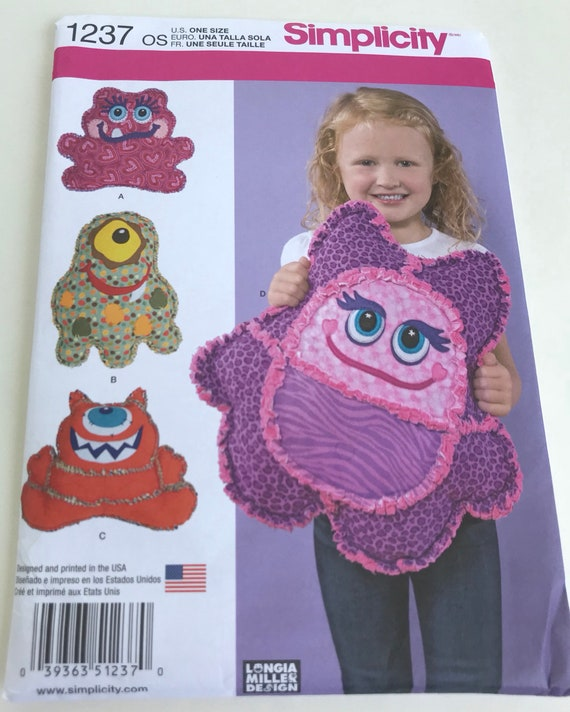 Monster pillow sewing pattern/ craft sewing pattern/ cheap sewing ...