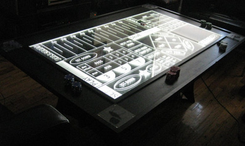 BALLCRAPS  CNC-routed Edge-Lit table  Football meets craps image 0