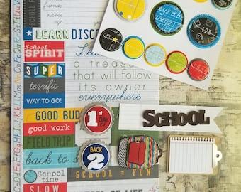 School Stickers Card Scrapbook Kit / Grad Display Board / Student Backpack Clipboard Title Words / Teacher Gift / SCHOOL3