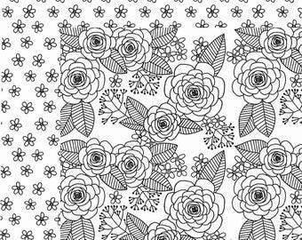 SCRAPBOOK PAPER / 4 Sheets / American Crafts - Adult Coloring Collection - Roses / 12 x 12 inches