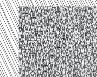 SCRAPBOOK PAPER / 4 Sheets / American Crafts - Adult Coloring Collection - Scallop / 12 x 12 inches
