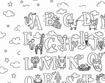 SCRAPBOOK PAPER / 4 Sheets / American Crafts - Adult Coloring Collection - Cute Alphabet / 12 x 12 inches