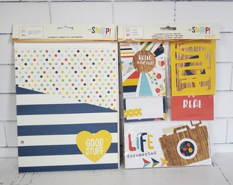 Simple Stories Journal Cards and Folders / Scrapbook Kit / Photo Album Pockets, Life documented, day by day, SNAP