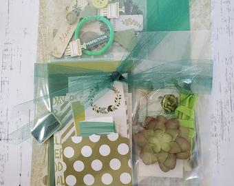 Art Journal kit, Green,  Craft Grab Bag, 50 pieces, Ephemera, Scrapbook supplies, Card Making Supplies, planner kit, collage art
