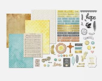 Faith journal Ephemera craft kit , Art-C, bible journal kit, Collage Kit, Junk Journal Supplies, planner kit