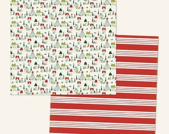 """SCRAPBOOK PAPER / 4 Sheets / Cozy Christmas """"Home for Christmas"""" Glittered Paper / 12 x 12 inches"""