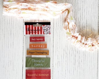 Fall Craft Kit / Wired Ribbon / Fabric label tag word stickers