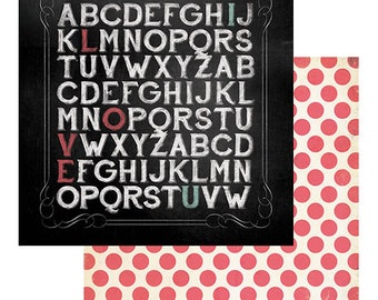 SCRAPBOOK PAPER / 4 Sheets / My Minds Eye - Chalk Studio 2 Collection - Alphabet Love / 12 x 12 inches