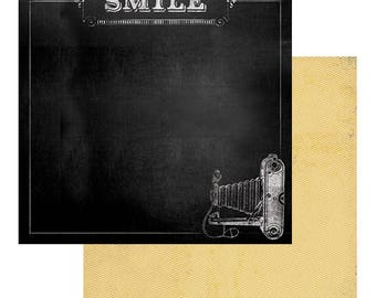 SCRAPBOOK PAPER / 4 Sheets / My Minds Eye - Chalk Studio 2 Collection - Smile / 12 x 12 inches