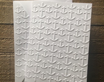 Embossed cards etsy anchor card set white embossed card greeting card set nautical note card set stationery set masculine blank note cards and envelopes m4hsunfo