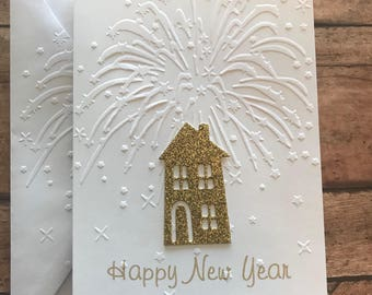 new years card set fireworks card set white embossed cards stationery set happy new year house card set 2019 blank note card envelopes