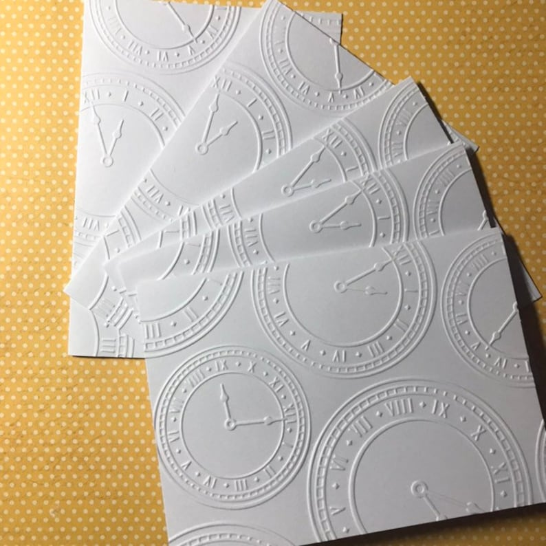 Masculine Note Cards New Year/'s Card Set White Embossed Note Cards Clock Cards Greeting Cards Time Note Cards Stationary Set