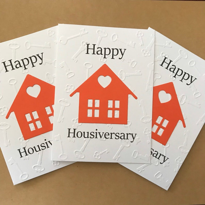 Home Card Home Anniversary Blank Note Card and Envelope Happy Housiversary House Card Real Estate Agent Greeting Card Stationery