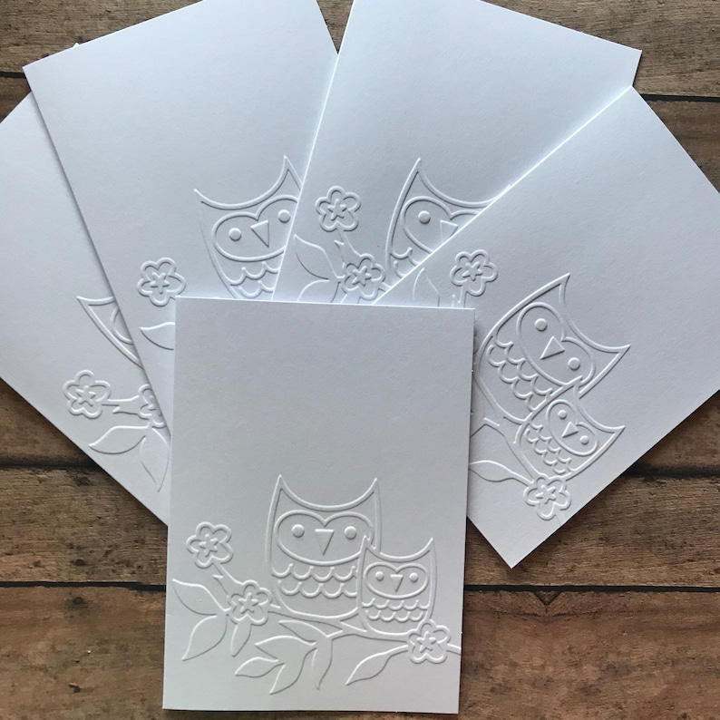 White Embossed Note Cards Owl Note Card Set Fall Note Cards Greeting Cards Stationery Set Blank Note Cards Cards and Envelopes