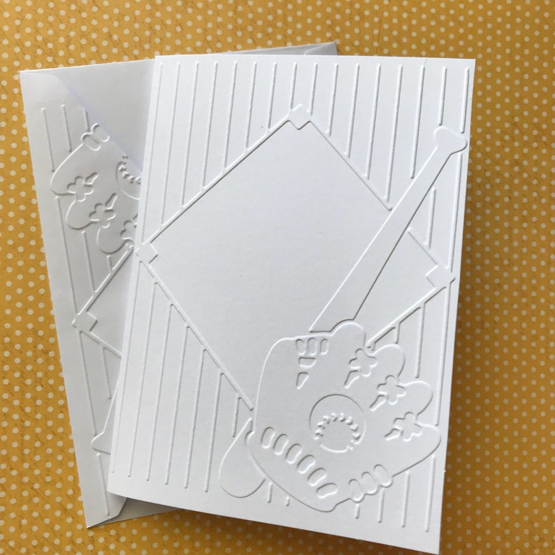 Baseball Cards White Embossed Cards Stationery Set Greeting Card Softball Cards Sports Card Blank Note Cards And Envelopes